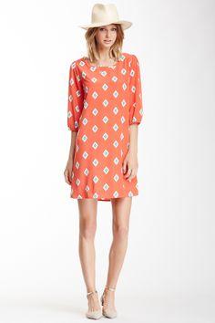 Peach Love Cream California Diamond Print Dress