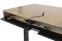 The Evolve - Electric Adjustable Standing Desk - Midcentury Modern Office Desk - with Integrated Cord Management