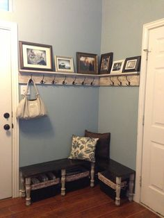 Old torn out closet...new coat rack & bench!