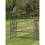 A nice metal archway with a bench for the garden