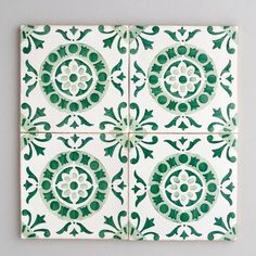 Alfama tile - handpainted, handmade patterned green and white tiles from Everett and Blue Bathroom Red, Bathroom Floor Tiles, Wall Tiles, Mosaic Tiles, Tiling, Master Bathroom, Bathroom Ideas, Floor Patterns, Tile Patterns