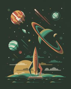 Pin by matt oxborrow on иллюстрация космоса, Art And Illustration, Vintage Space, To Infinity And Beyond, Sci Fi Art, Vector Art, Screen Printing, Fantasy Art, Art Drawings, Art Sketches