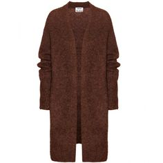 Acne Studios Raya Wool and Mohair-Blend Cardigan (540 AUD) ❤ liked on Polyvore featuring tops, cardigans, jackets, outerwear, coats, brown, acne studios, brown cardigan, wool cardigan and brown tops