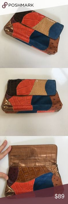 """{ Carlos Falchi } small patchwork clutch Multimedia leather patchwork small clutch. Magnetic closure, lined, in great condition. Measures approx 8.5"""" base 7.5"""" top 5"""" height. This luxury bag is unique and made of fine materials. Perfect to carry or use in larger bag. carlos falchi Bags Clutches & Wristlets"""