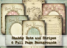 Shabby Dots and Stripes - 6 Full Page Backgrounds - Digital Collage Sheets - altered art scrapbooking card making shabby chic pastels. $7.25, via Etsy.