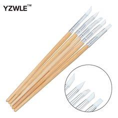 YZWLE 5PCS/Pack Silicone Nail Art Sculpture Pen Emboss Carving Polish Craft Wooden Handle Nail Art Brush Pedicure Tool 26