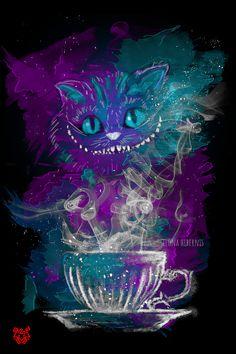 Tea Design inspired by Chesire!Design inspired by Chesire! Cheshire Cat Wallpaper, Cheshire Cat Art, Chesire Cat, Cheshire Cat Tattoo, Alice And Wonderland Tattoos, Cheshire Cat Alice In Wonderland, Disney Wallpaper, Cartoon Wallpaper, Mad Hatter Costumes