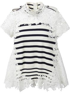 Shop Sacai striped and lace knit top in A'maree's from the world's best independent boutiques at farfetch.com. Over 1500 brands from 300 boutiques in one website.