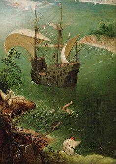 """""""Landscape with the Fall of Icarus"""" (detail), c.1558, Pieter Bruegel the Elder."""