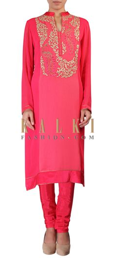 Buy Online from the link below. We ship worldwide (Free Shipping over US$100) http://www.kalkifashion.com/peach-straight-fit-suit-featuring-in-resham-and-zari-embroidery-in-peacock-motif-only-on-kalki.html