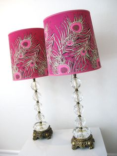 I love these Hollywood Regency pink peacock lampshades.  They were my inspiration for me to start making my own custom lampshades :)