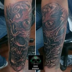 Tattoo skull buho black and grey
