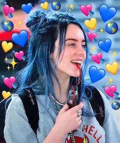 I love her blue hair it really brings out her eyes 💕 love memes, billie ei