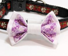 Medium White and Purple Dog Bowtie. Looking Dapper, Dog Bows, Bow Ties, Boutique, Trending Outfits, Unique Jewelry, Purple, Medium, Handmade Gifts