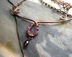 Amethyst Princess - Copper and Purple Swarovski Crystal Wrapped Necklace Swarovski Crystal Earrings, Amethyst Crystal, Silver Shop, Wire Wrapping Crystals, Wire Wrapped Necklace, Agate Necklace, Green Aventurine, Copper, Princess