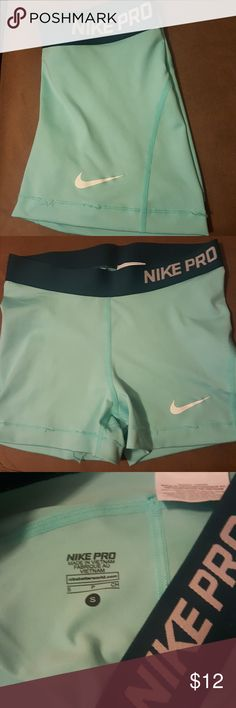 Small Nike Pros Cuteeeee Nike dri fit pros! Size Small! Various breaks in the seam..please see pictures! Otherwise great condition! No stains or tears! Nike Shorts