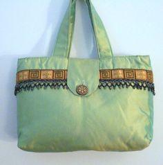 Green Dupioni silk bag by uniquelynancy on Etsy, $33.00