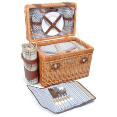 The Picnic Parlor - Willow Picnic Basket with Brown and Blue Plaid for 4, $154.99 (http://picnicparlor.com/brown-and-blue-plaid-willow-picnic-basket-for-four/)
