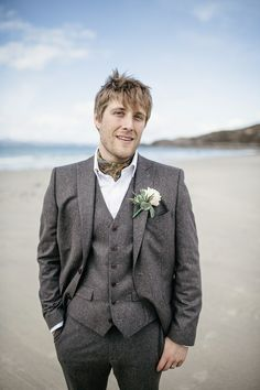 Tweed Groom Next Suit Grey Brown Scottish Beach Wedding http://www.kat-hill.com/