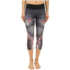 adidas Workout Mid Rise 3/4 Tights w/ City Attack Print (Black) ($53) ❤ liked on Polyvore featuring activewear, activewear pants, black, adidas, adidas sportswear and adidas activewear