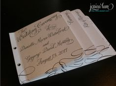I really like this concept for a wedding program. Would do it differently; prettier and more elegant, but love the idea.