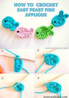 Crochet fish applique free pattern