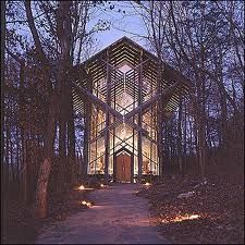 Thorncrown Chapel - Eureka Springs, Arkansas  My cousins wedding in the Fall was one of the prettiest weddings I ever went to. And yes, I still like the place despite the fact my ex husband married his current wife there. Oh well, I can laugh about it now.