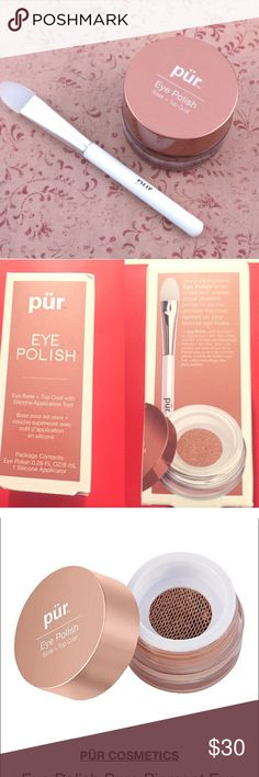 "Pur ""Eye Polish"" in ""Silk"" This is an eye base and top coat, pigmented eye shadow with a silicone application tool. This ""eye polish"" is iridescent, buildable, creaseproof and can be layered over other colors. This is a top notch high end product. Your friends and foes will be super jealous. Brand new and in the box. Don't miss out!!! Perfect for any skin tone. Great for you and better as a gift. Bundle and save!!! 😍😍😍 Pur Minerals Makeup Eyeshadow"