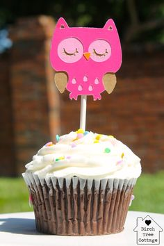 Owl Cupcake Toppers by birchtreecottage on Etsy