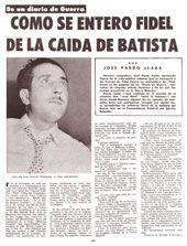 Facsímil de la primera página del texto Cómo se enteró Fidel de la caída de Batista, publicado por Bohemia el 11 de enero de 1959. (1)