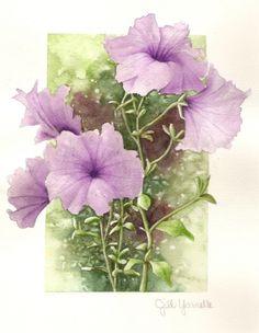 Purple Lavendar Petunias watercolor painting by ellenray