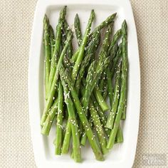 Soy sauce, toasted sesame oil, and sesame seeds give this chilled asparagus recipe an Asian spin. With so few ingredients, it's a cinch to prepare./