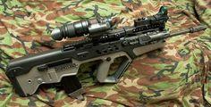 TAVOR TAR-21 long barrel with flip up scope mount, red dot sight, tactical flashlight