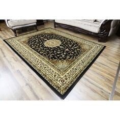 Black Polypropylene Machine-made Super Belkis Area Rug (4' x 6') (Black), Size 4' x 6'