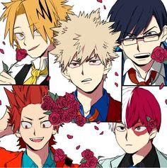 Boku no Hero Academia    Kaminari Denki, Katsuki Bakugou, Tenya Iida, Kirishima Eijirou, Todoroki Shouto.