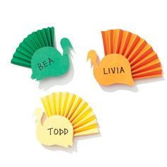 Colorful Turkey Place Cards
