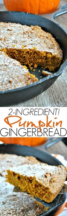 2 Ingredient Pumpkin Gingerbread is an easy dessert or a quick coffee cake breakfast for Thanksgiving!