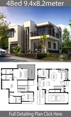 Small Home design plan 9 with 4 Bedrooms is part of Small Home Design Plan M With Bedrooms Home Ideas - Small Home design plan 9 with 4 Bedrooms House descriptionOne Car Parking and gardenGround Level Living room, Dining room, Kitchen, Modern House Floor Plans, Sims House Plans, Modern Exterior House Designs, Duplex House Plans, House Layout Plans, Dream House Exterior, Modern House Design, House Plans 2 Storey, Modern House Facades