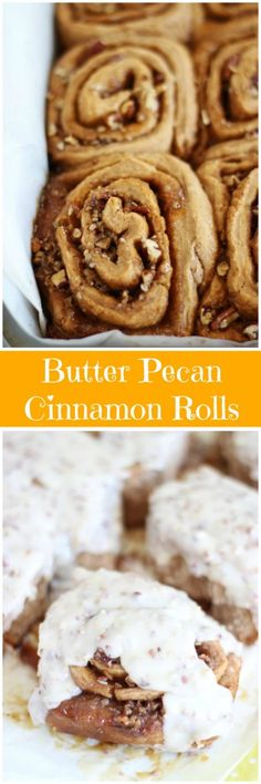 Yeast-based cinnamon rolls made with butter pecan cake mix, filled with brown sugar, cinnamon, and caramel sauce, topped with a warm butter pecan icing.