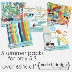 What are you going to do with all your summer photos? Why not preserve the memories by digital scrapbooking them? This special Summer Pack by Marie H design is just perfect!  This fabulous deal includes 2 full size digital kits, 1 extra digital paper pack, 1 digital tags pack, and 1 digital word a...
