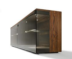 Nox glass and wood display cabinets