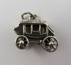 Knott's Berry Farm Passenger Carriage or Stagecoach Sterling Silver Charm or Pendant. Berry, Charms, Sterling Silver, Pendant, Blueberries, Pendants