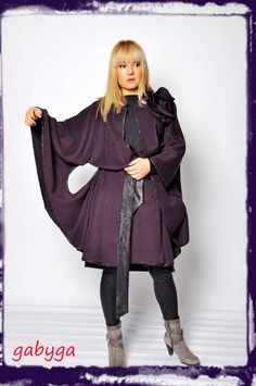 Dark purple cape cloak with flower/Coat/wool100%/Woman beautifful cape/ Hand made cape with flower/Dessign cape made by Gabyga/Dark purple