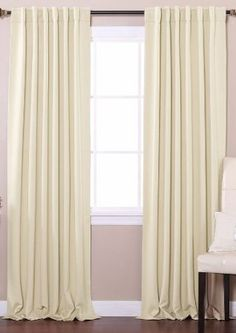 "Solid Thermal Insulated Back Tap Blackout Curtain 52"" x 84""L- 1 Set-BEIGE - BOC"