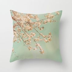 Pillow Cover: Cherry Blossoms. Nature Photography. Pink Turquoise Teal Mint. Throw Pillow. Living Room. Spring Home Décor. Cushion Cover