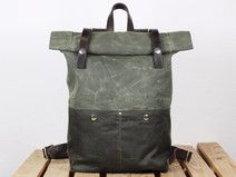 Backpack Rolltop Waxed Canvas and leather, olive
