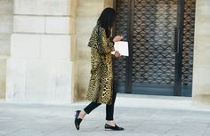 LOVE this - crazy but chic, masculine but feminine. Those shoes!