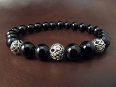 Spedizione EXPRESS  925 argento onice nero braccialetto Mens