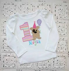 Puppy Dog First Second Third Birthday Shirt- Boys or Girls Colors Avail- Free Personalization on Etsy, $28.00