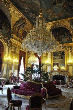 Napoleon III Apartments - Lourve Museum. I am drooling over the beautiful detail. I want those couches in the middle!!